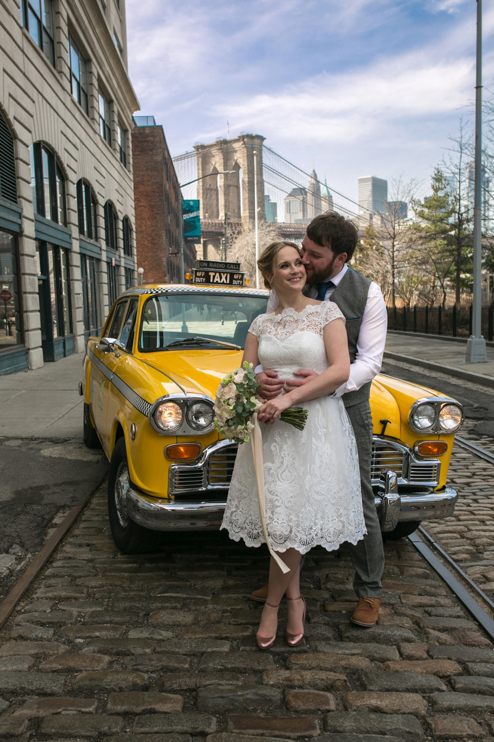 Vintage taxi wedding photo
