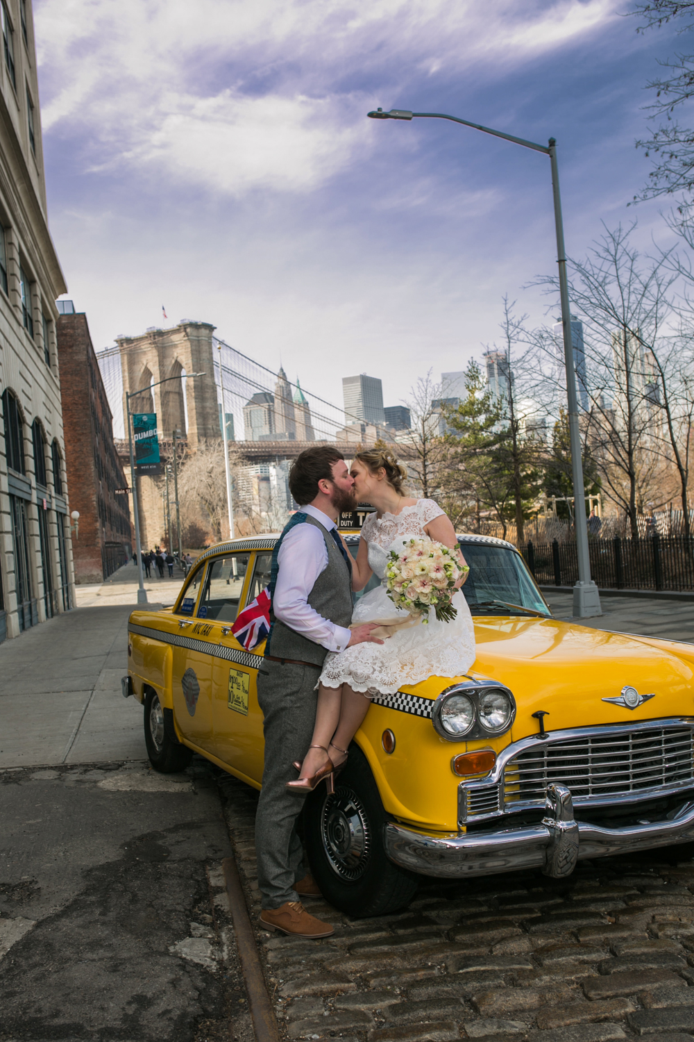 Manhattan vintage taxi wedding photograph