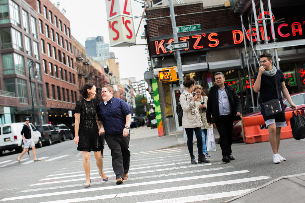 Couple goes on walk in New York City