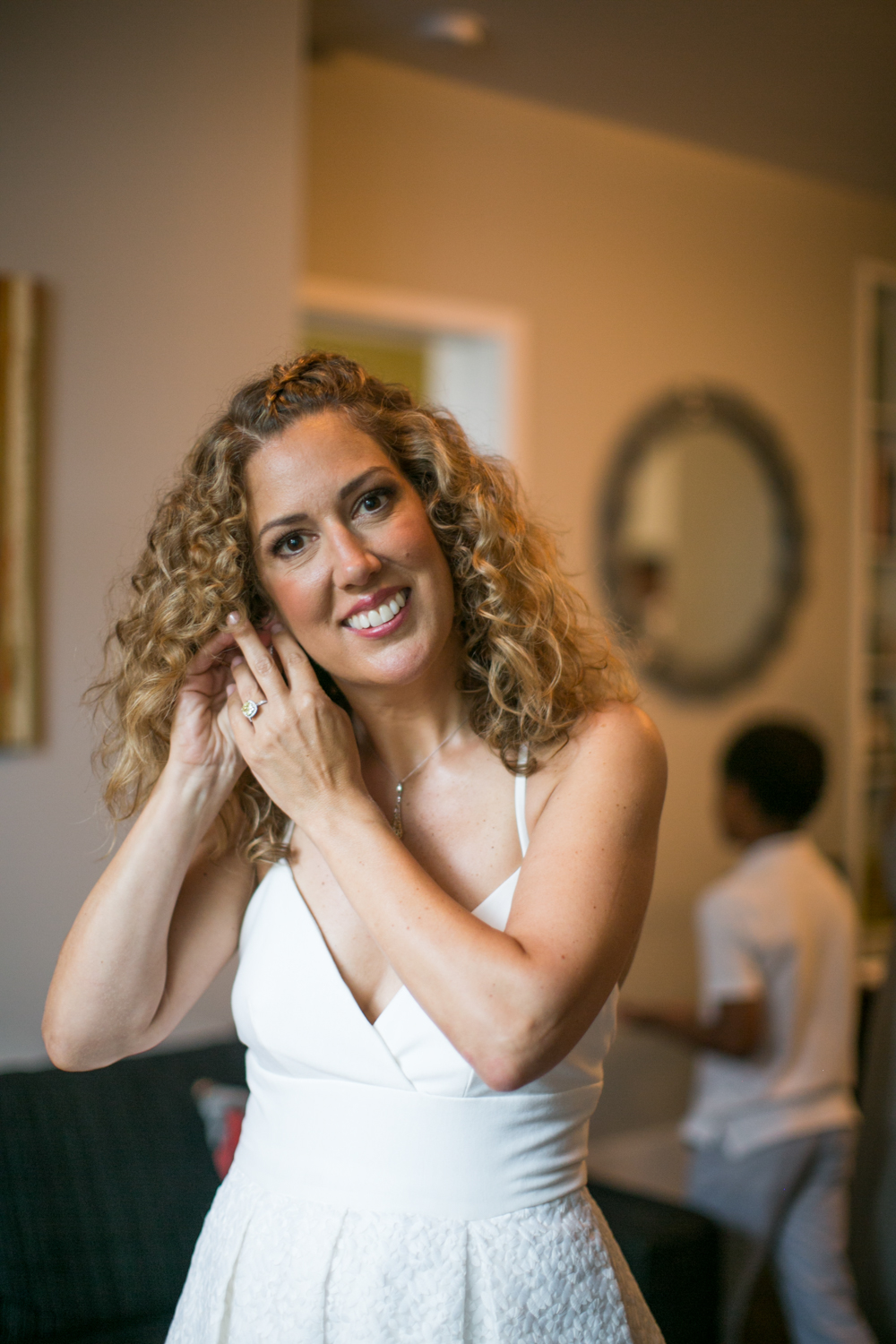 NYC Bride getting ready on elopement day