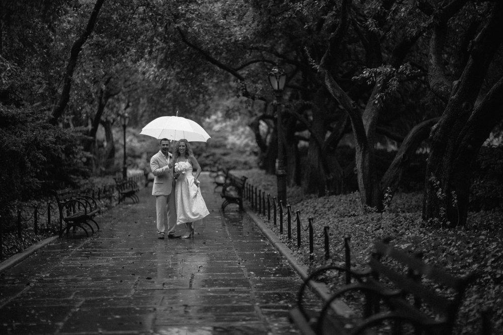Rainy elopement in NYC