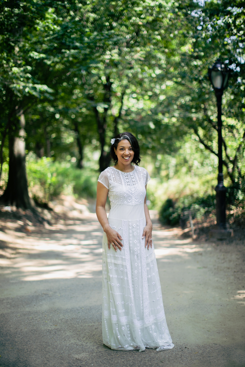 Full length portrait of bride in Central Park.