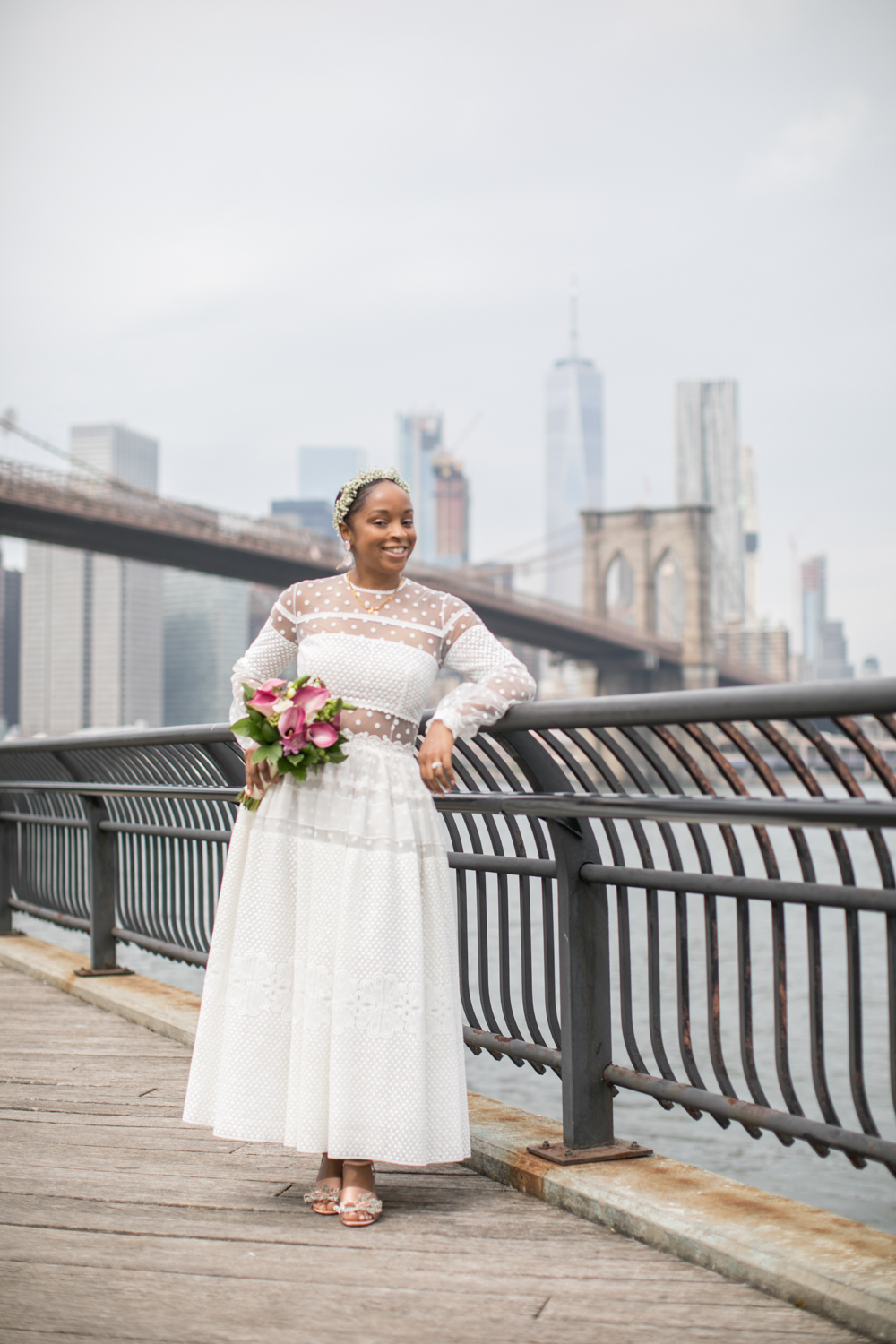 Portrait of a bride in Brooklyn Bridge Park.