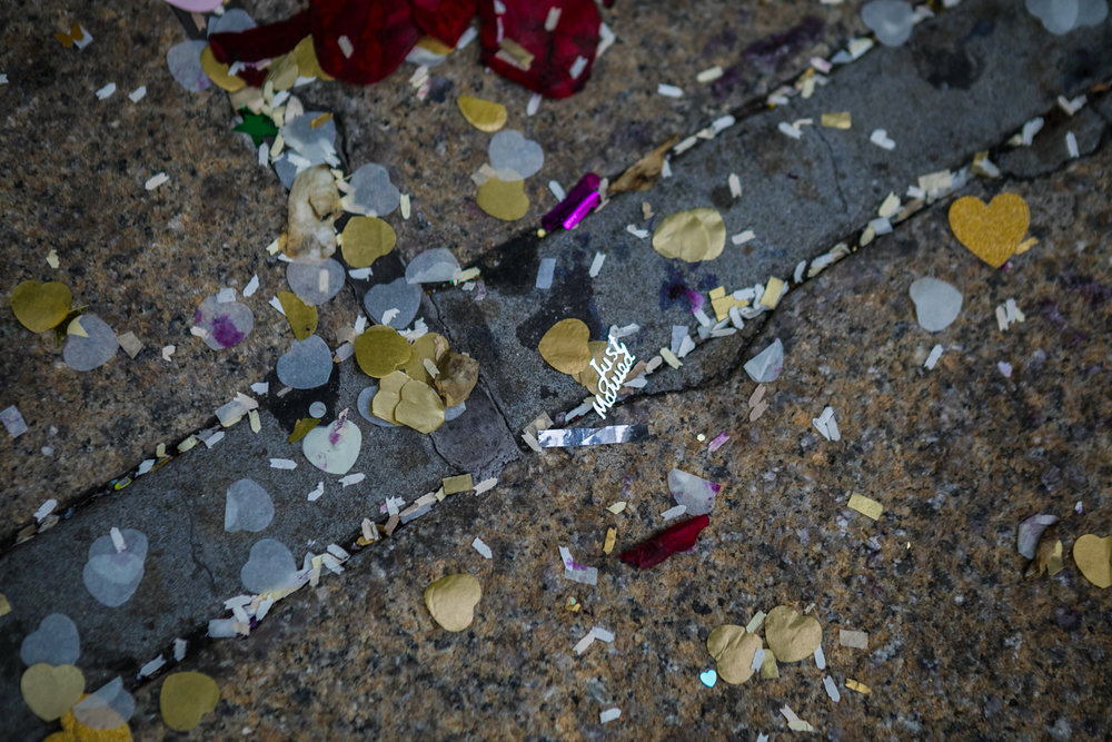 Just Married confetti on the street.
