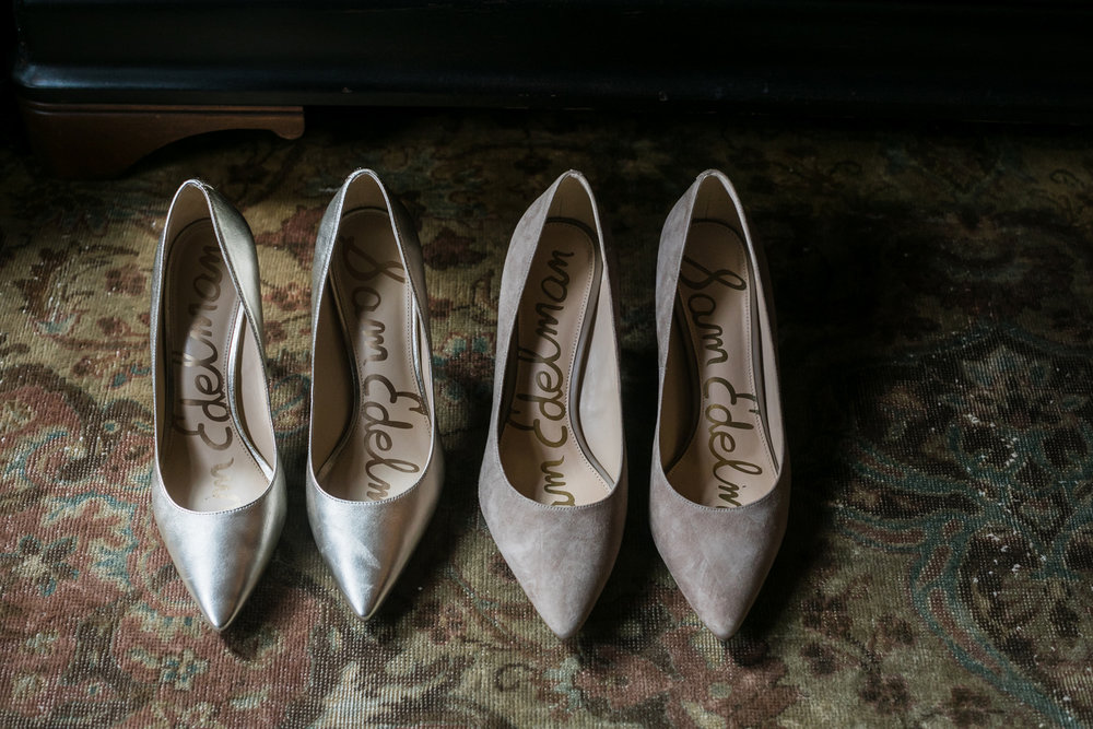 Gold and tan Sam Edelman Wedding Shoes at the Hudson hotel in New York.