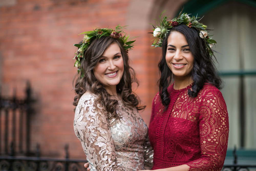 Portrait of brides before their wedding.