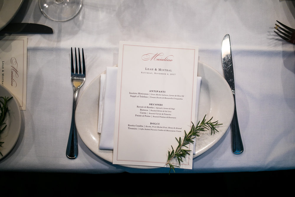 The menu for a wedding reception at  Maialino