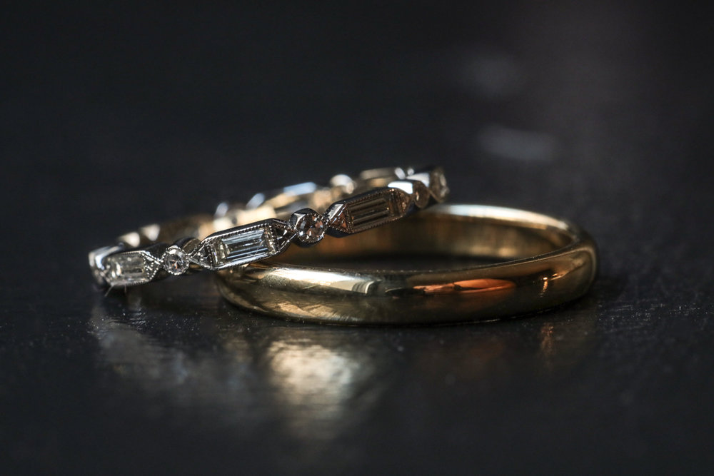 Gold and diamond wedding bands.