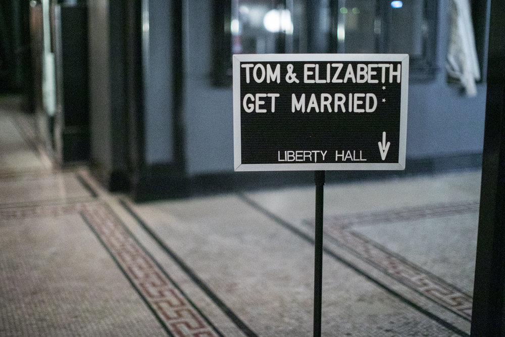 Wedding sign outside of Liberty Hall at the ACE Hotel in New York.
