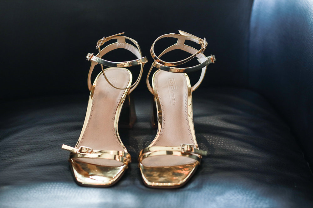Gold wedding shoes from Top Shop -501 Union Wedding Photos in Brooklyn - Luna & Tom's Wedding