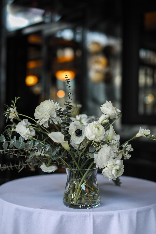 White flower centerpiece at a Brooklyn wedding -501 Union Wedding Photos in Brooklyn - Luna & Tom's Wedding