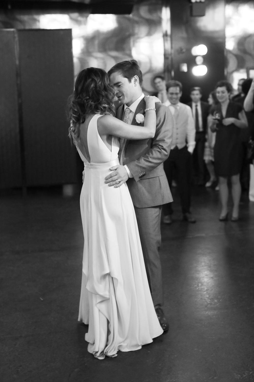 Black and white portrait of the first dance at a Brooklyn wedding -501 Union Wedding Photos in Brooklyn - Luna & Tom's Wedding