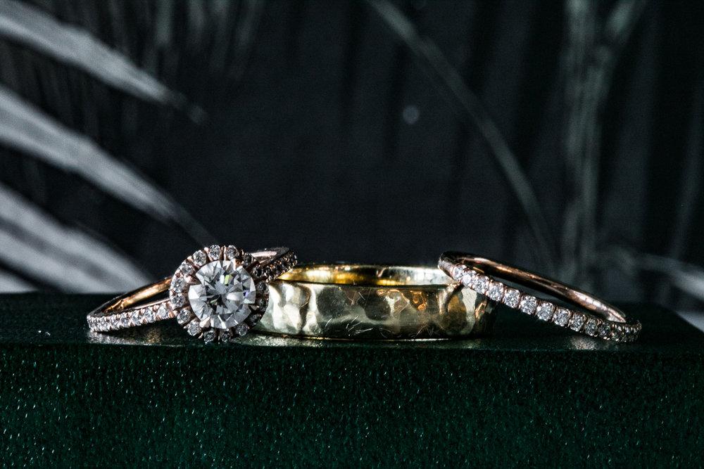 Portrait of gold nd diamond wedding rings -501 Union Wedding Photos in Brooklyn - Luna & Tom's Wedding