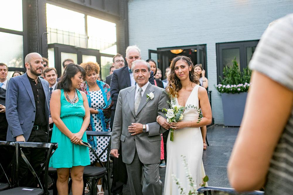 Brides father walking her down the aisle -501 Union Wedding Photos in Brooklyn - Luna & Tom's Wedding