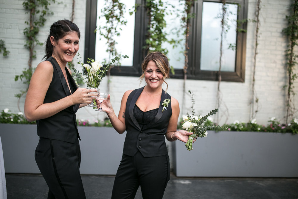 Bridesmaids in black pants and vests at a Brooklyn Wedding - 501 Union Wedding Photos in Brooklyn - Luna & Tom's Wedding
