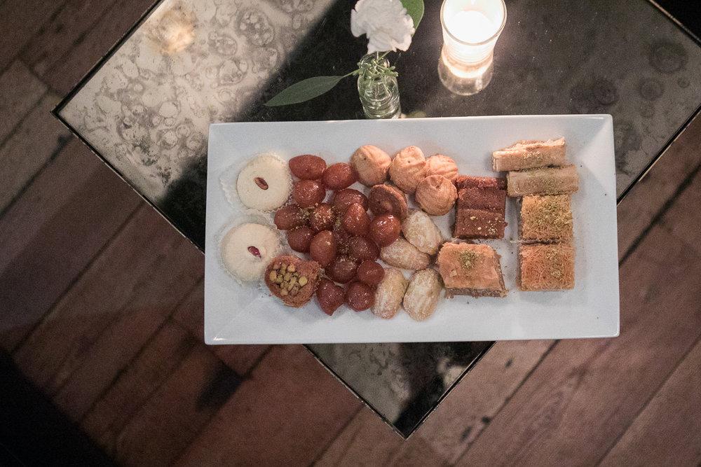 Baklava and Middle Eastern sweets at a Brooklyn wedding -501 Union Wedding Photos in Brooklyn - Luna & Tom's Wedding