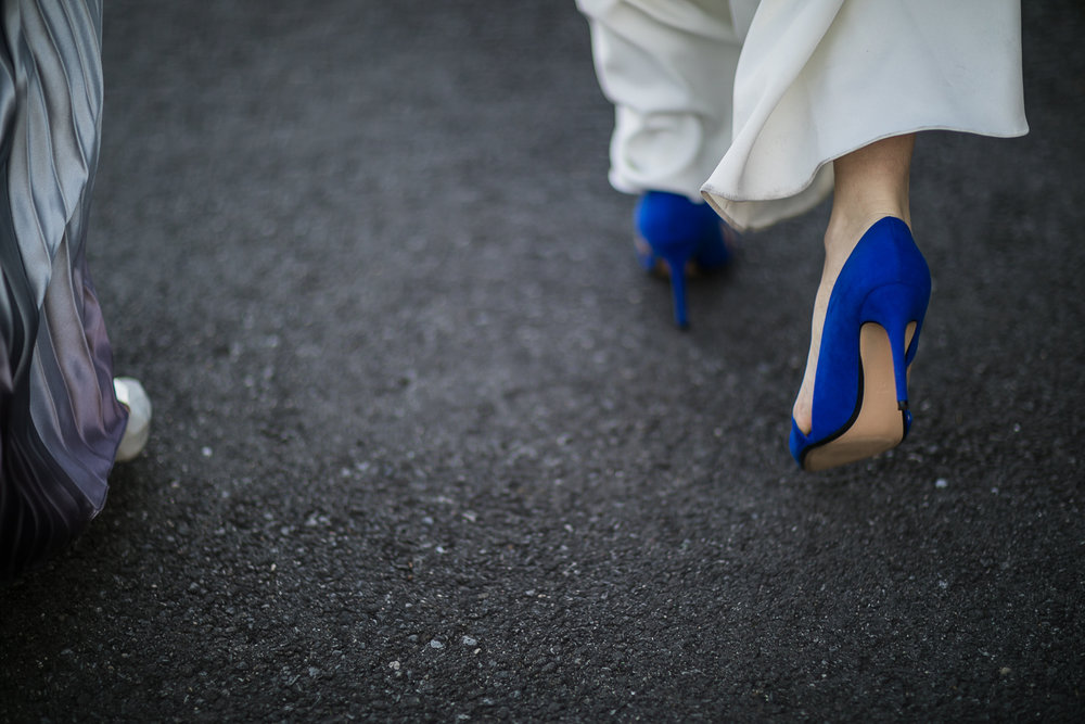 Bride wearing blue shoes | 26 Bridge Wedding Photos | Lesbian Brooklyn Wedding | Kristin and Marisa's Wedding