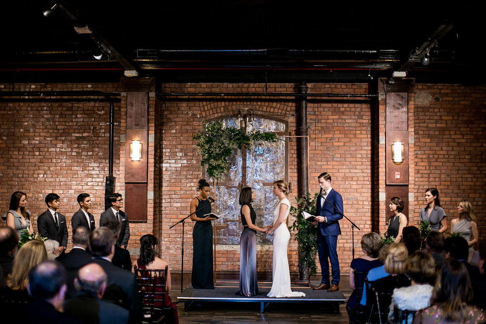 Wedding ceremony at 26 Bridge in Brooklyn, New York | 26 Bridge Wedding Photos | Lesbian Brooklyn Wedding | Kristin and Marisa's Wedding