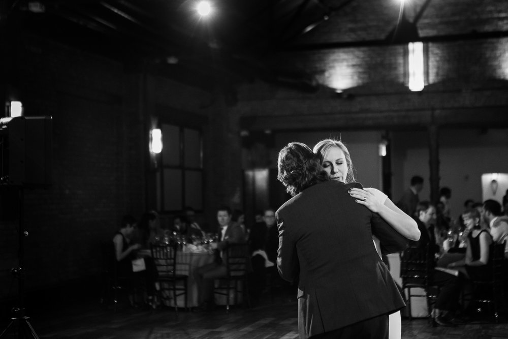 Dancing at a wedding reception at 26 Bridge in Brooklyn | 26 Bridge Wedding Photos | Lesbian Brooklyn Wedding | Kristin and Marisa's Wedding