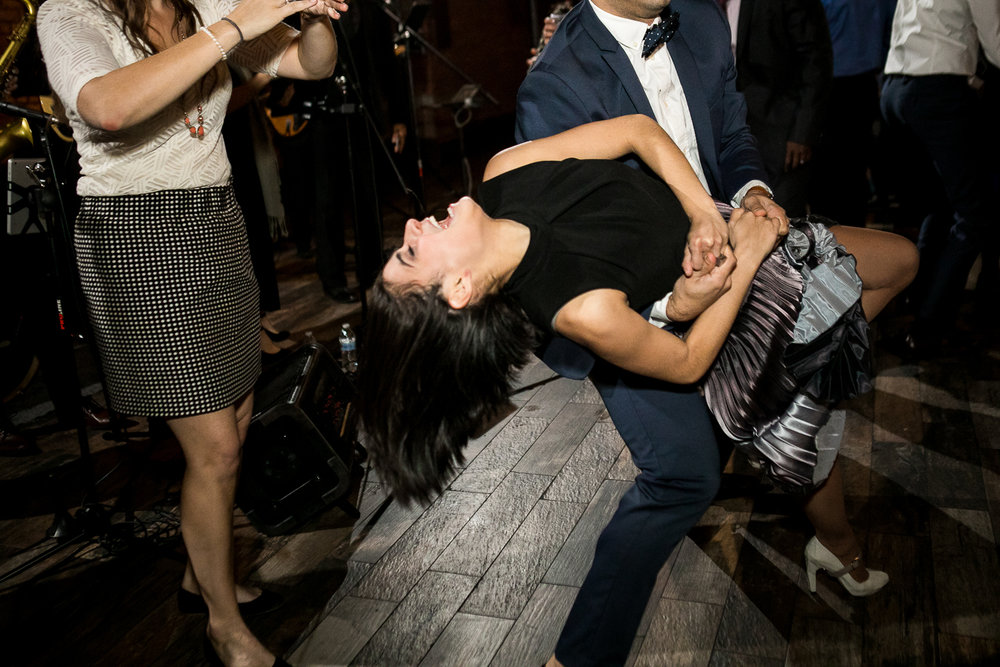 Dancing at a wedding reception at 26 Bridge in Brooklyn, New York | 26 Bridge Wedding Photos | Lesbian Brooklyn Wedding | Kristin and Marisa's Wedding