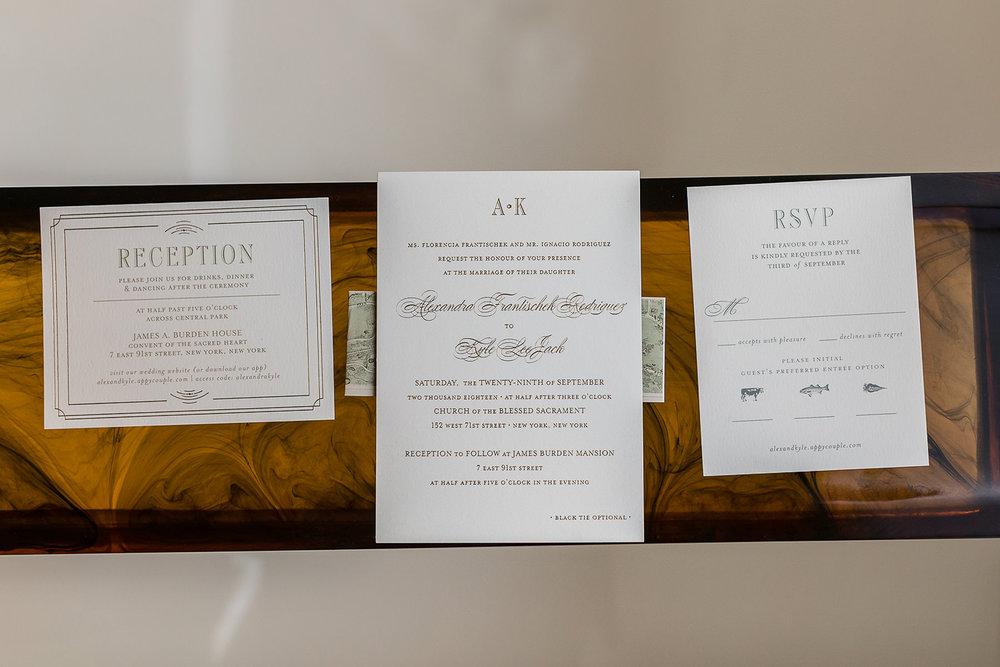 A wedding invitation suite.