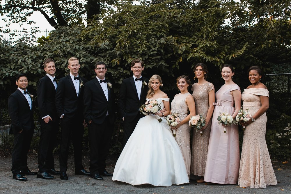 Bridesmaids and groomsmen in Central Park.