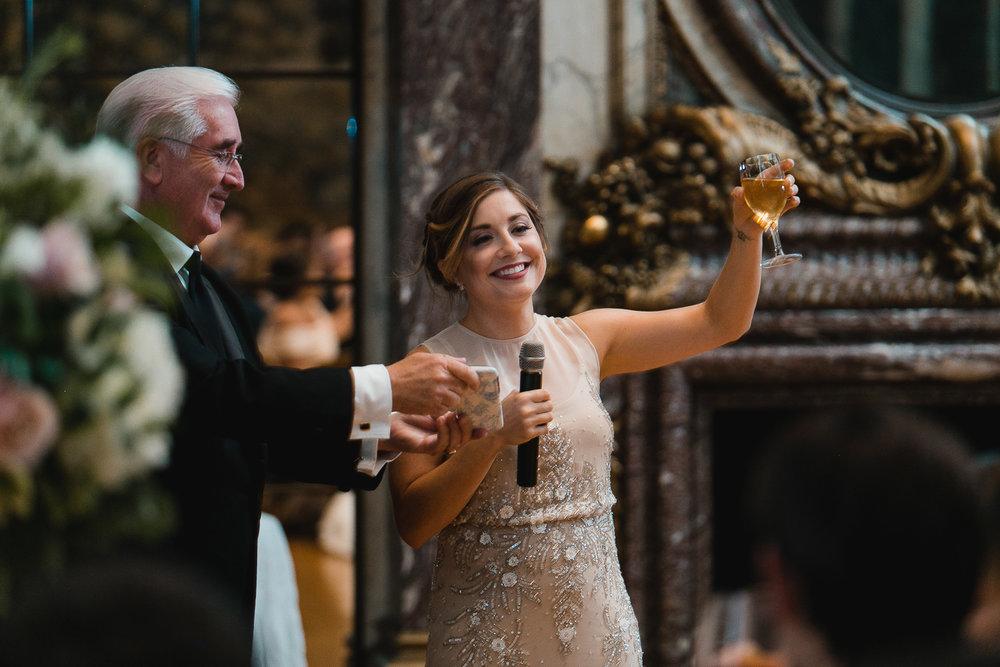 Giving wedding toasts.