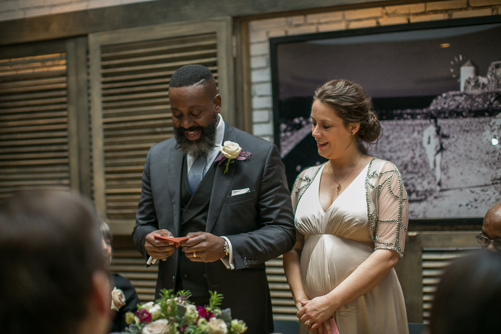The bride and groom at their Intimate Restaurant Wedding in Manhattan. | Upper West Side Intimate Wedding | Kate & Sylvester's wedding in Manhattan.