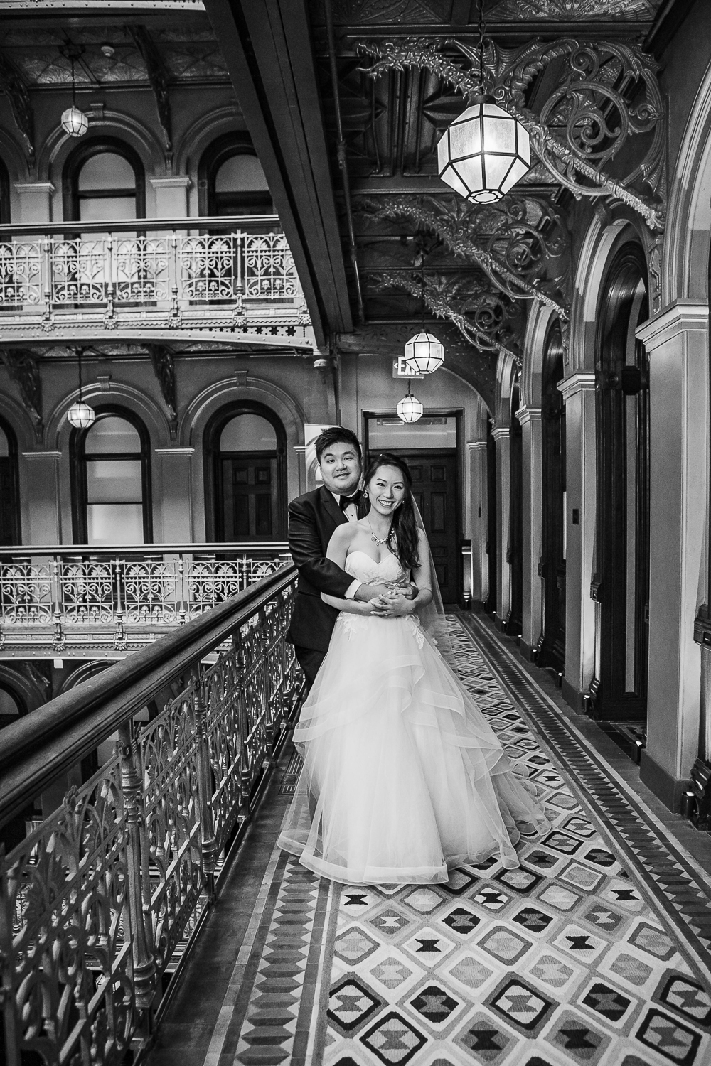 Bride and groom pose for wedding photos at the Beekman Hotel in New York City   Beekman Hotel Wedding Photos   Jason and Susanna's Glam NYC Elopement