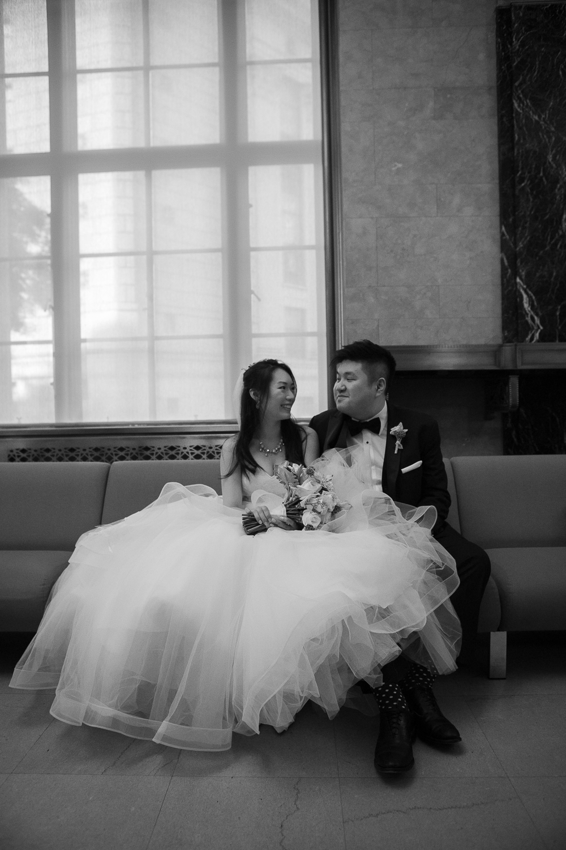 Couple waiting for their NYC City Hall wedding   New York City Hall Wedding Photographer   Jason and Susanna's Glam NYC Elopement