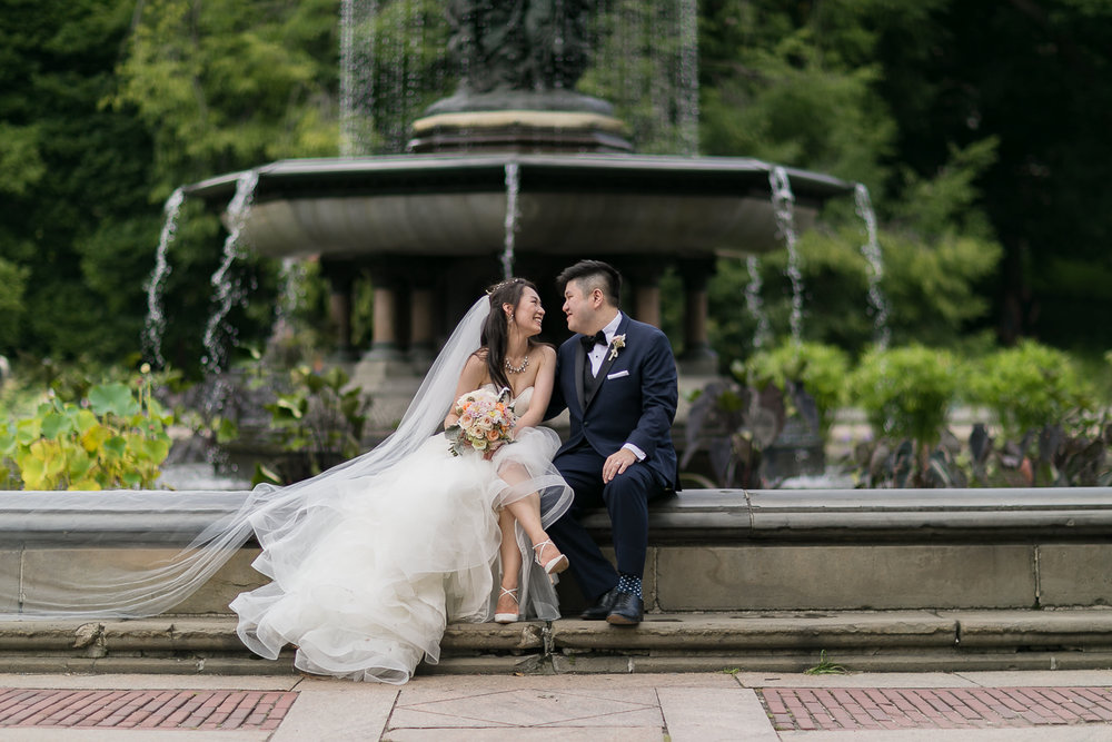 Portrait of a bride and groom after their wedding at Lincoln Center in New York City   Lincoln Center Wedding Photos   Jason and Susanna's Glam NYC Elopement