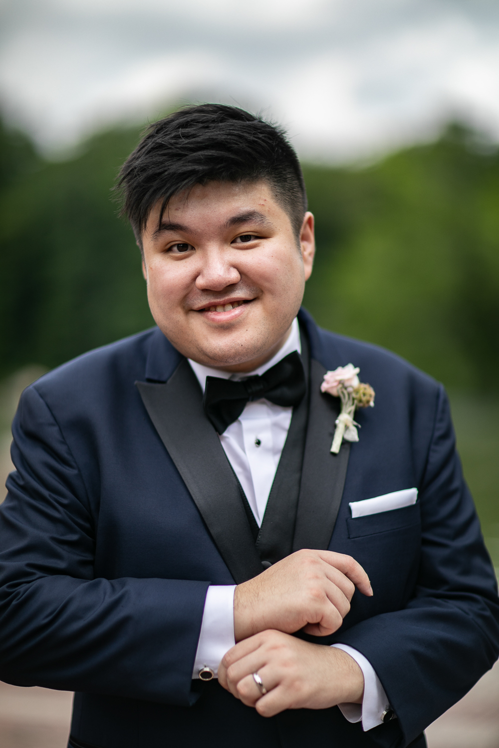 Portrait of a groom wearing a blue and black tuxedo   Lincoln Center Wedding Photos   Jason and Susanna's Glam NYC Elopement