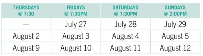 Hairspray Schedule