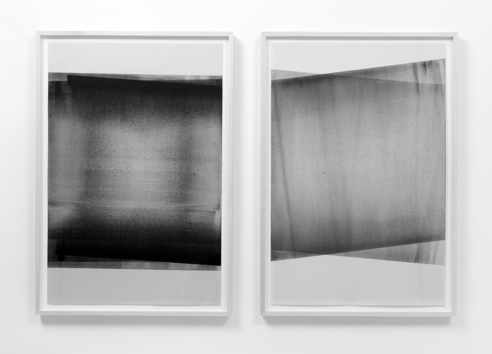 Untitled Diptych (reflected/repeated #1, and #4)  2014, Oil based ink on newsprint, 24 x 36 inches each