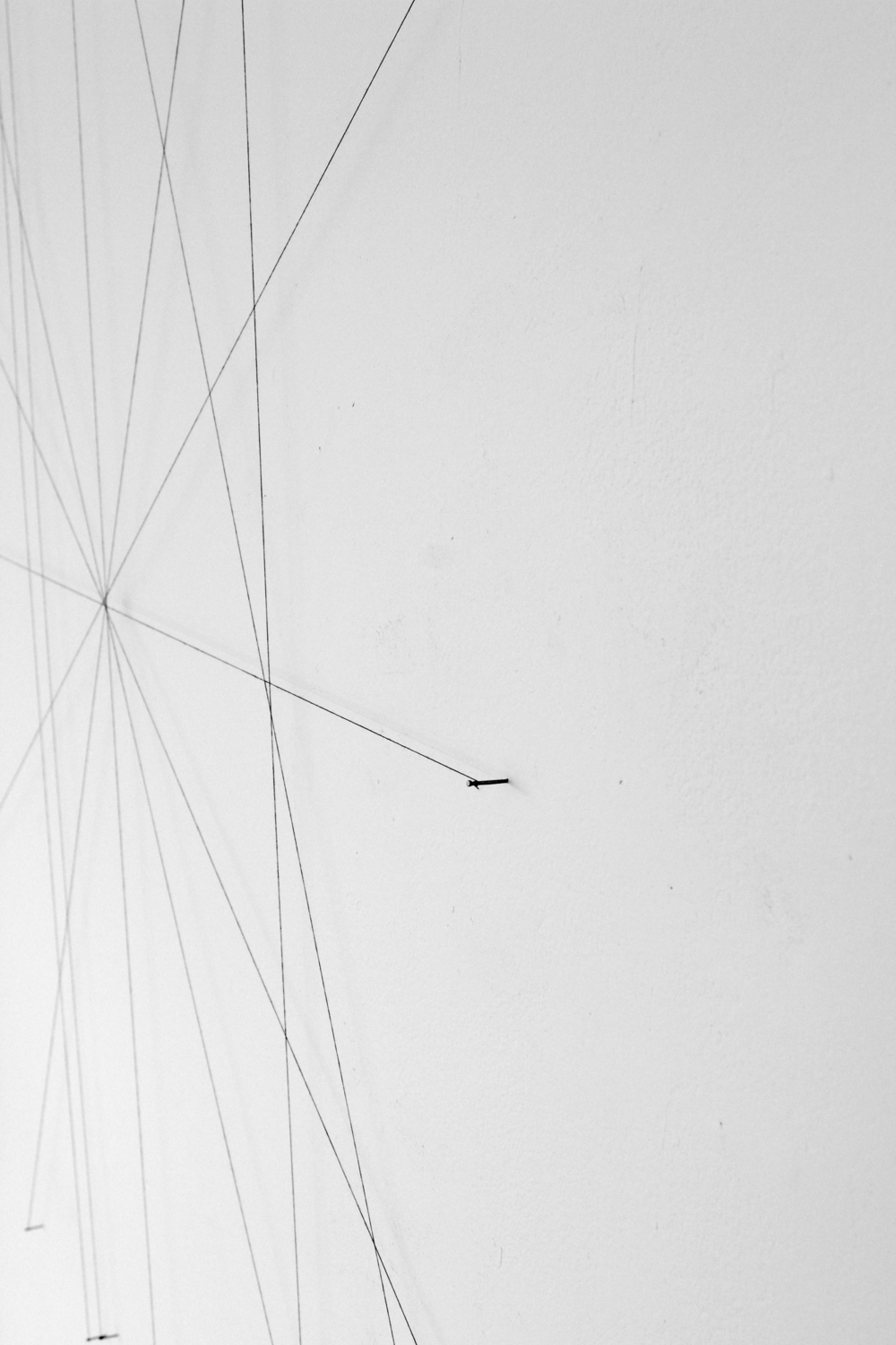 from the ongoing series: O/, Divided/Defined, Weights, Measures, and Emotional Geometry  2011, String and nails. Various Dimensions