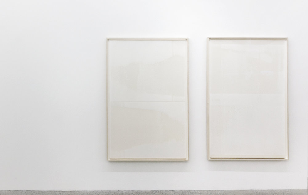 Untitled (from the series An Accurate Silence)  Oil based paint on frosted Mylar suspended in front of painted matte board, 2016 63 x 42 inches each
