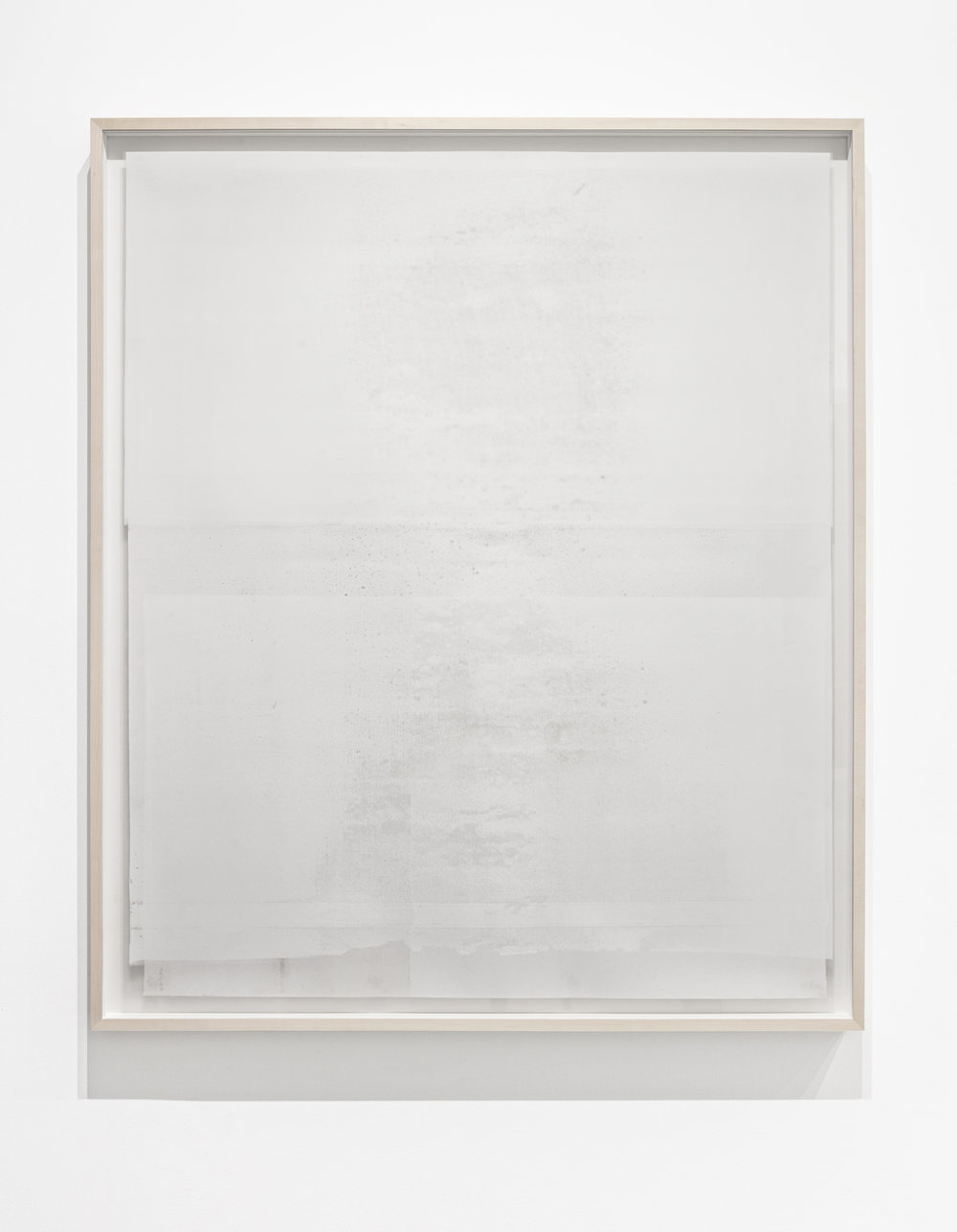 Untitled  ( white (square)  from the series  Impermanent Horizon ), 2016, 2 layers, oil based paint (white) on clouded mylar hinged on plexi set in front of acrylic (light grey) on mylar, 46 x 39 inches
