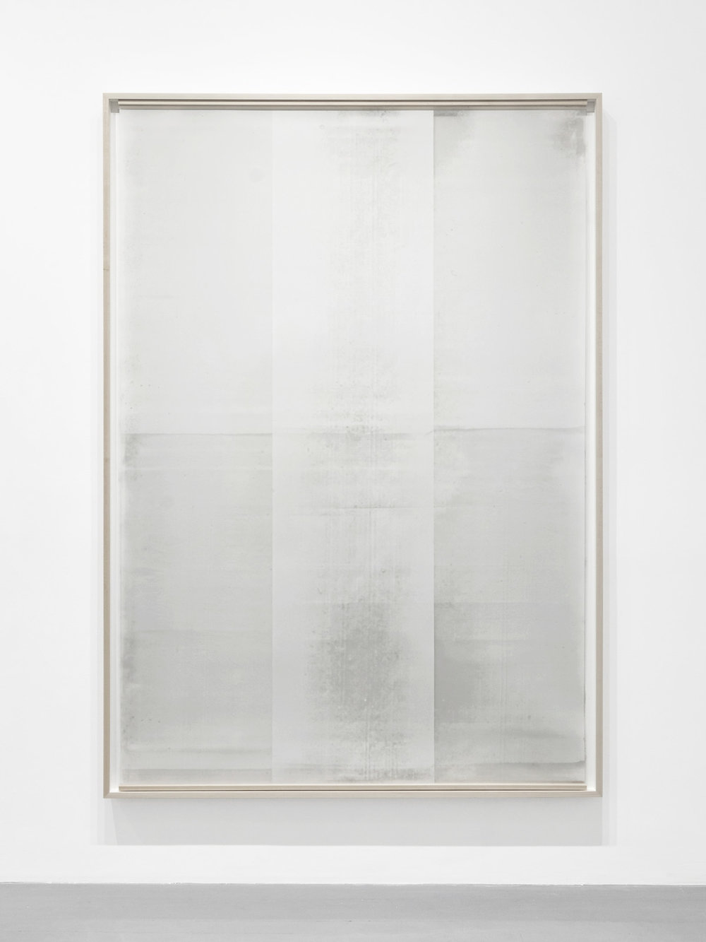Untitled  (from the series  An Accurate Silence ), 2017, Oil based paint on clouded mylar suspended in front of acrylic on cotton paper, 71 x 51 inches
