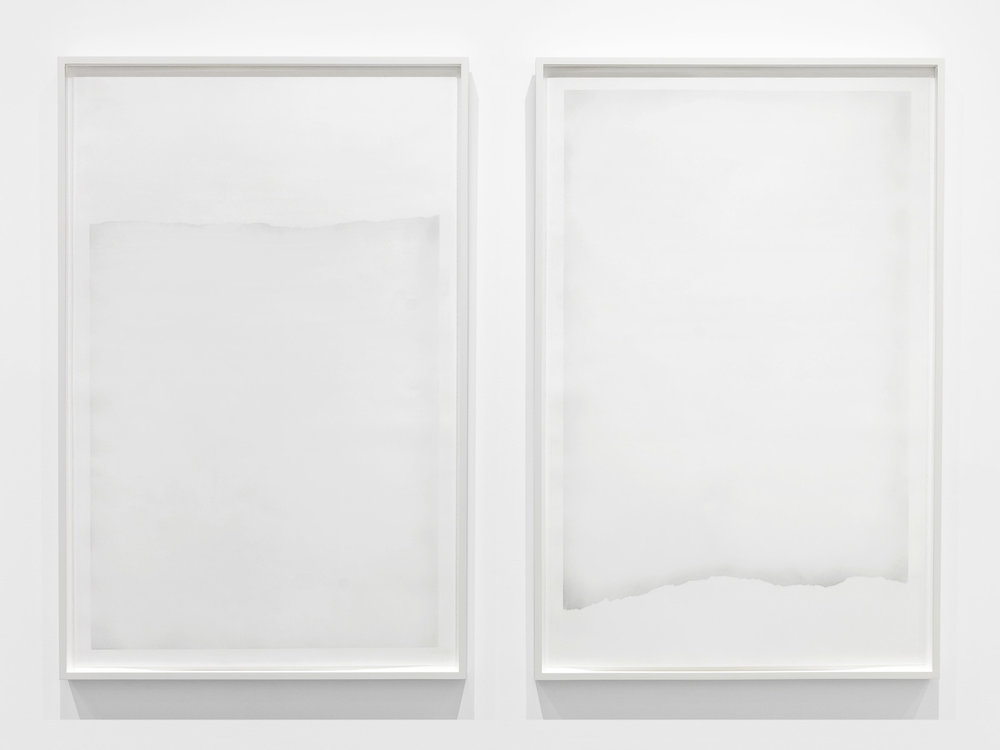 Untitled  (graphite #3 and #4 from the series  An Accurate Silence ), 2017, Powdered graphite brushed onto cotton paper, 41.5 x 27 inches