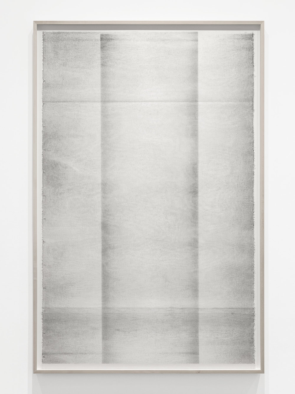 Untitled (...in and of itself) , 2017, Oil based paint, graphite and charcoal on tarlatan (starched cotton), 61 x 40 inches