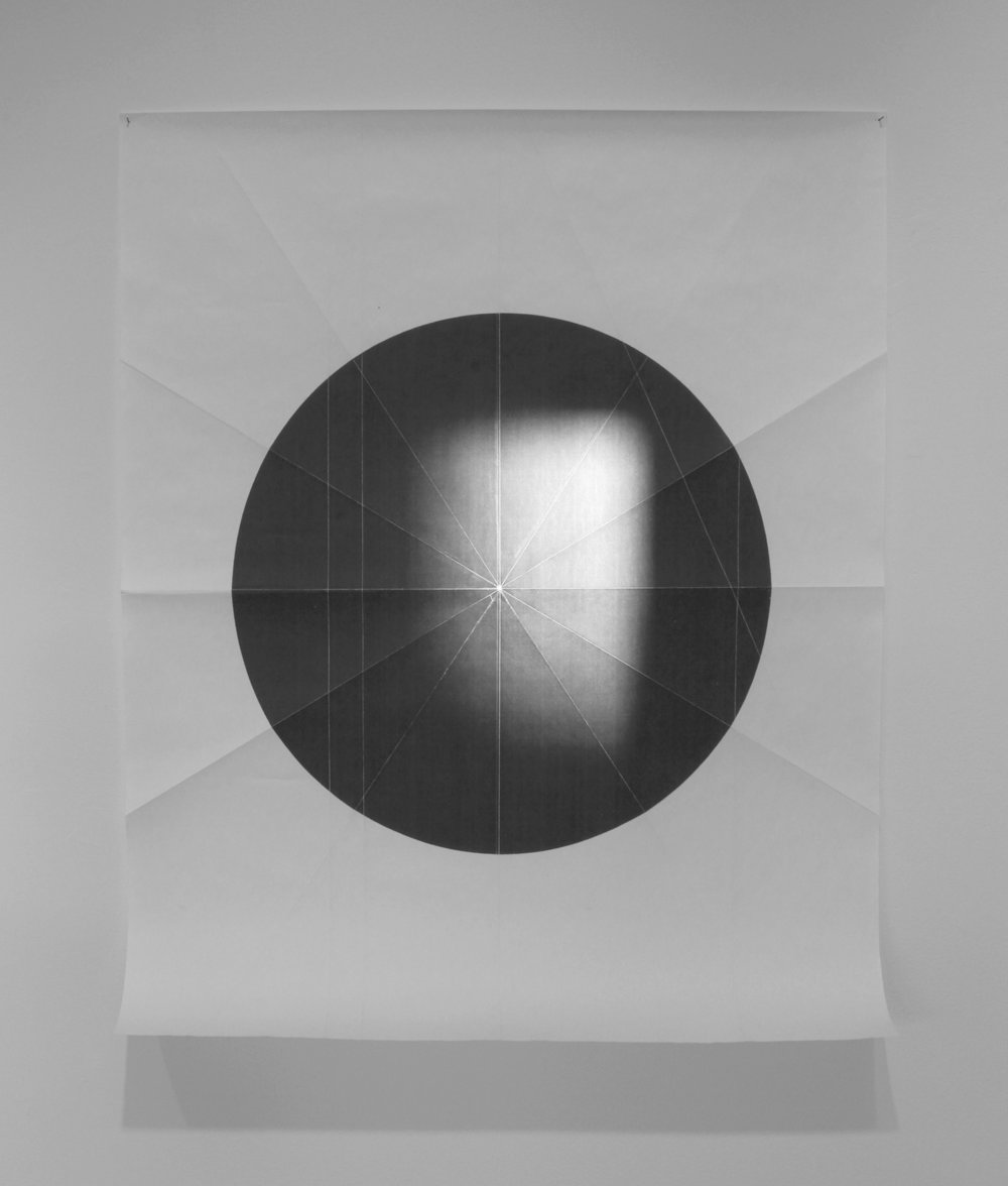from the ongoing series: O/, Divided/Defined, Weights, Measures, and Emotional Geometry  2011, Folded photocopied circle (pictured here with sun) 107 x 63 inches