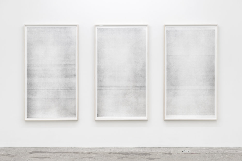 Untitled Triptych (when it settles #3, #4, and #5, from the series A Certain Silence) , 2017, Oil based paint, graphite and charcoal on tarlatan, layered, 59 x 35 inches each.