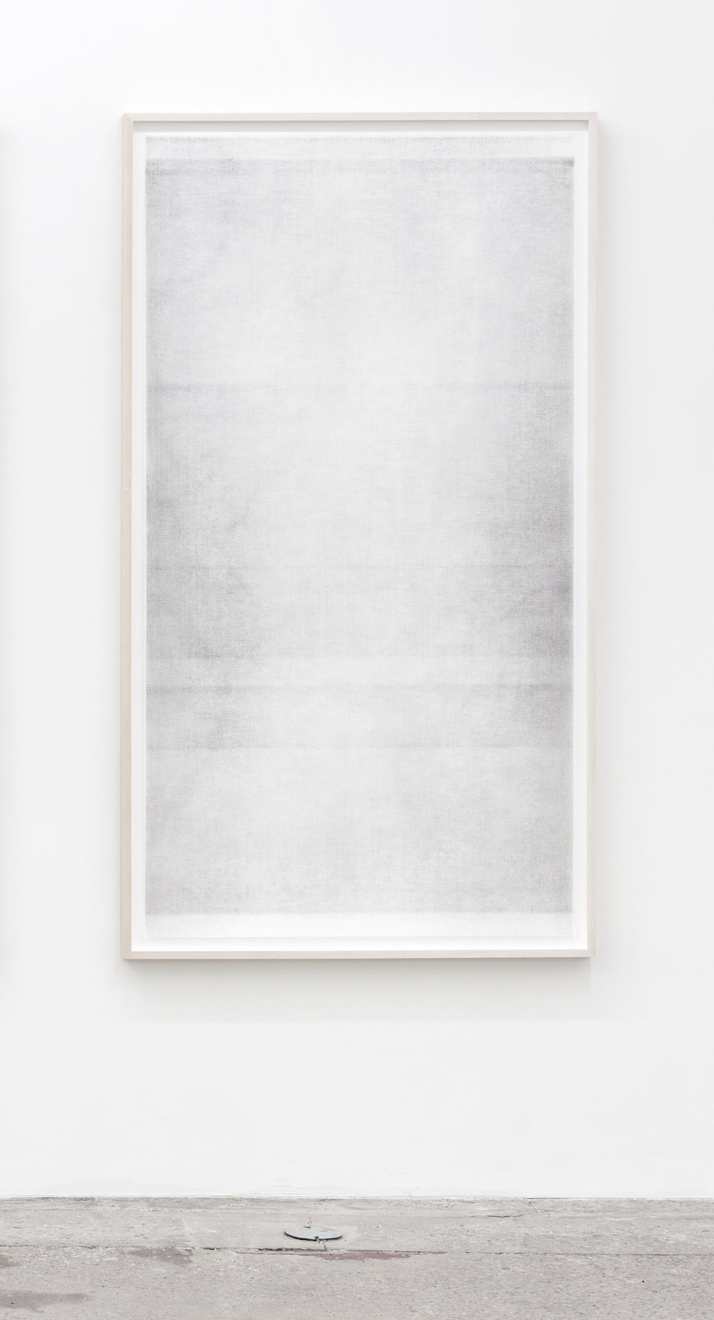 Untitled (when it settles #5, from the series A Certain Silence) , 2017, Oil based paint, graphite and charcoal on tarlatan, layered. 59 x 35 inches