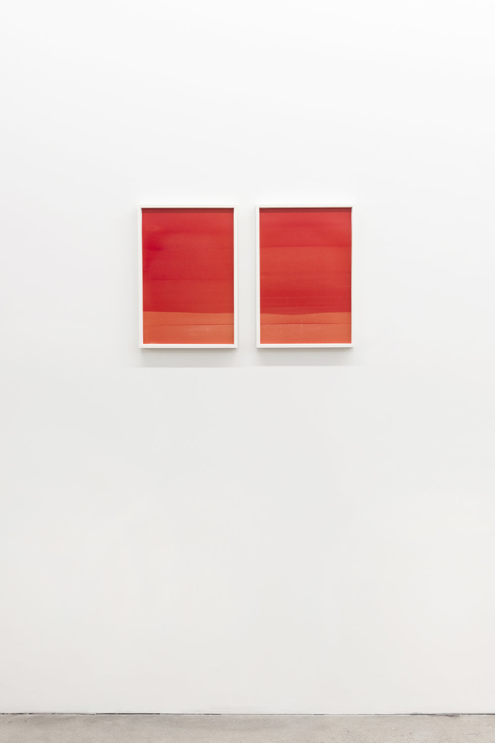 Red (landscape #1 and #2),  2014, Oil on Mylar, 18 x 13 inches