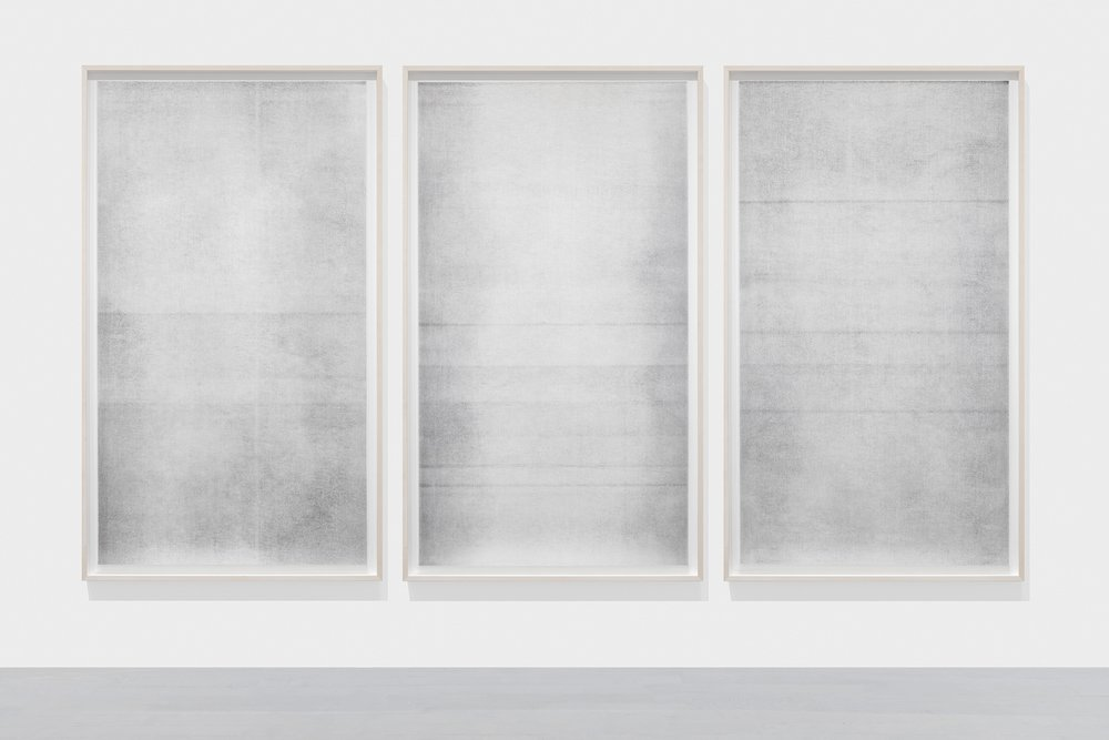 Untitled (other than what is known #9, #10, and #11,  from the series  A Certain Silence),  2018 2 layers, oil-based paint, graphite and charcoal on tarlatan, 60.5 x 35.5 inches each (framed)