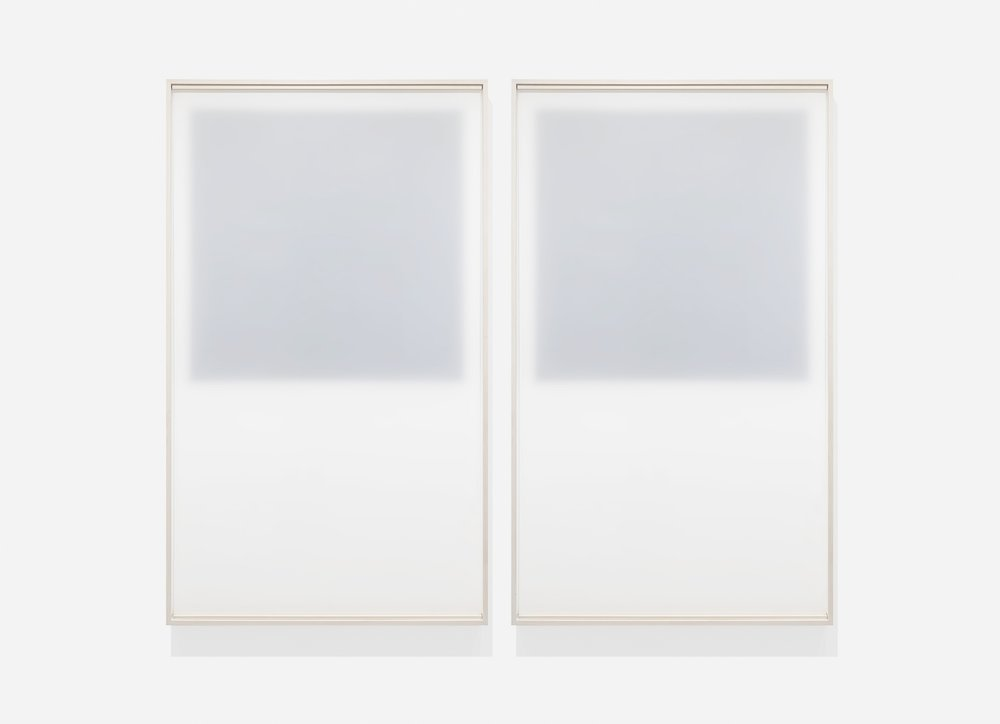 Untitled (a complicated clarity #1 and #2 / square),  2018, Frosted mylar suspended in front of black oil-based paint on mylar 70.5 x 41.5 inches each (framed)