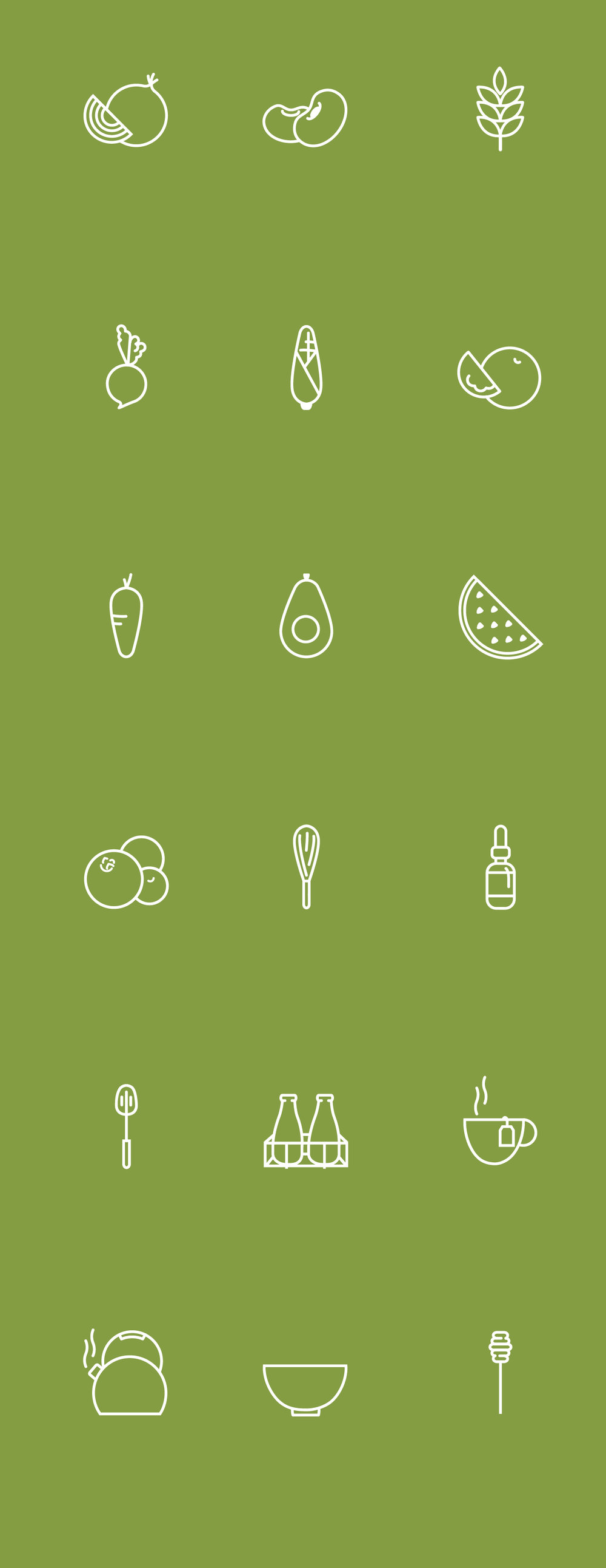 "Icon a Day (18 Days): Created a series of vector outlined icons related to food, vegetables and kitchenware. ""Real food doesn't have ""ingredients"" real food IS ingredients"" -Jamie Oliver"