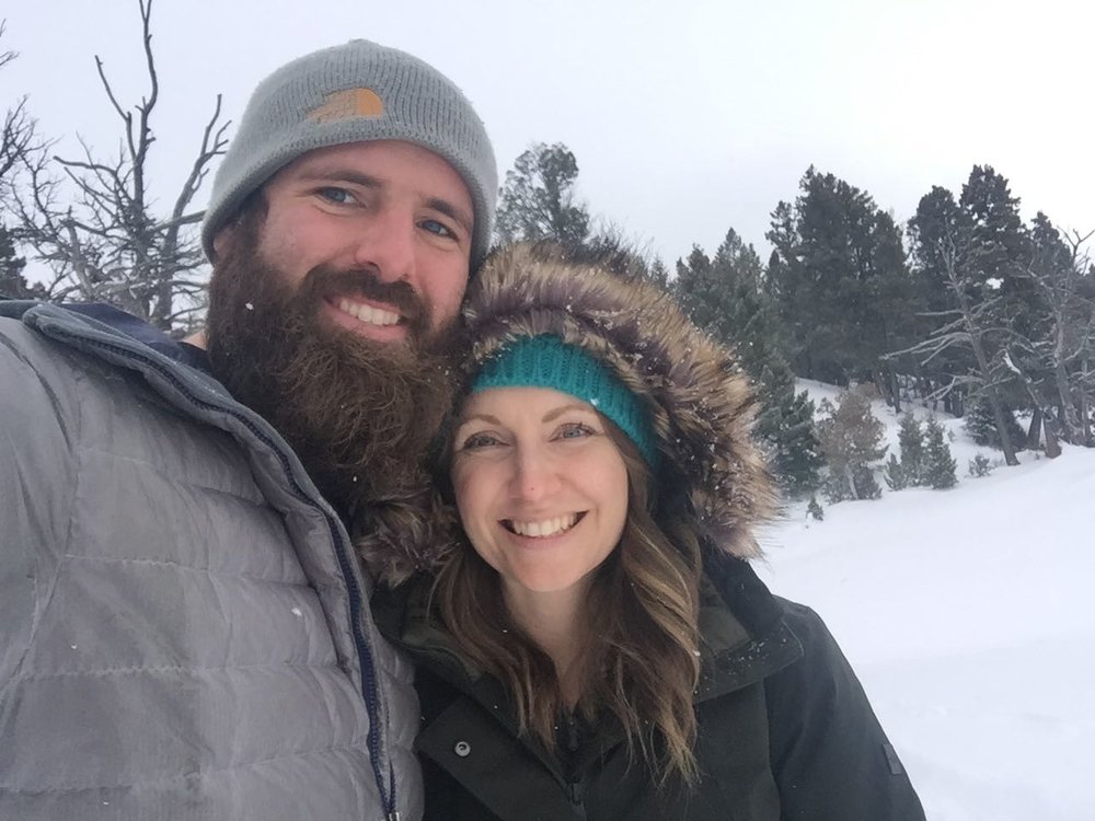 Twila and I enjoying the snow in Yellowstone.