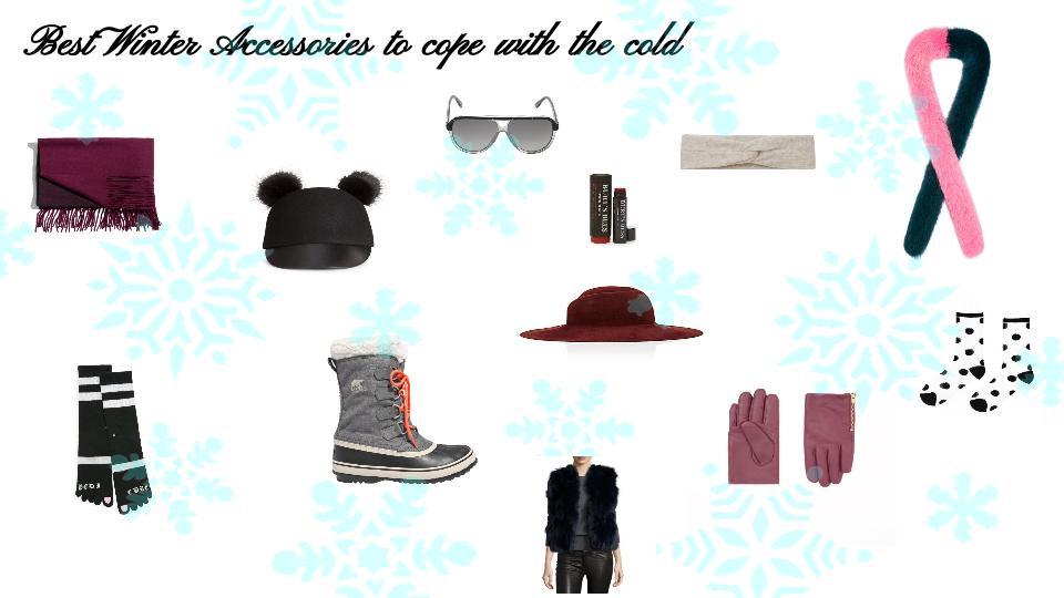Shopping for the Season:  Two-Tone Wool Blanket Scarf, $65; stories.com. Wool Hat, $25; hm.com. Gucci sunglasses, $345,shopBAZAAR.com. Gianni Headband, $30;us.aritizia.com. Eugenia Kim Wide-Brim Felted Hat, $455; barneys.com. Sorel x Madwell boots, $125,madewell.com. Stance x Rihanna Pedi Cure Socks, $24;stance.com. Candy Cane Faux Fur Scarf, $205;charlottesimone.com. Zip Leather Gloves, $79;cosstores.com. Sheer Black Polka Dot Socks, $20; bando.com. http://www.lastcall.com/Adrienne-Landau-Plus-FOX-RBT-BOX-VST-BLU/prod40770017/p.prod?ecid=LCCS__Polyvore