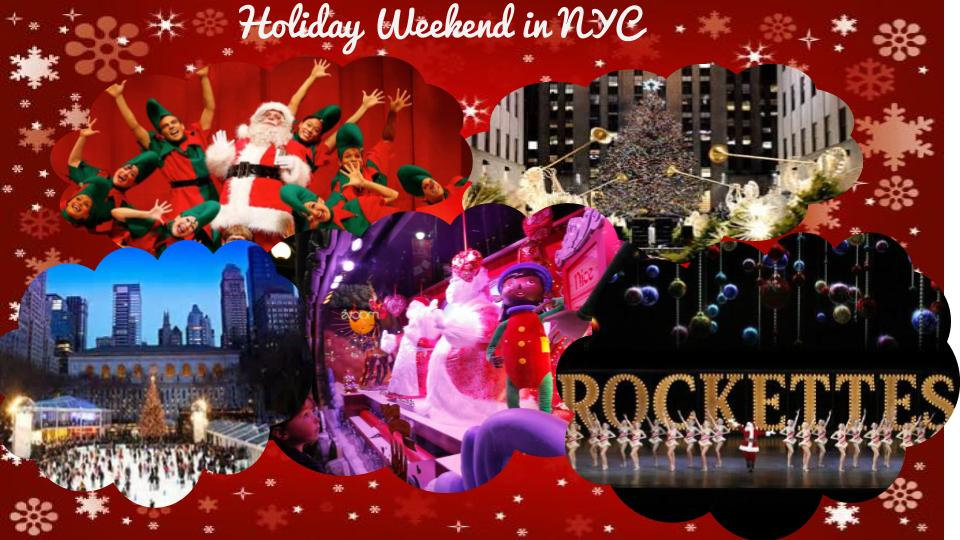 A Holiday Weekend in NYC: Snag tickets to see the Rockettes Holiday window shopping with spectacular window displays A Christmas Carol the Musical Ice Skating Visiting the Christmas Tree in rockefeller Center